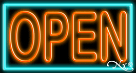Double Stroke Orange Open With Aqua Border Neon Sign