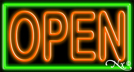 Double Stroke Pink Open With Aqua Border Neon Sign