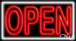 Double Stroke Red Open With White Border Neon Sign