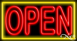 Double Stroke Red Open With Yellow Border Neon Sign