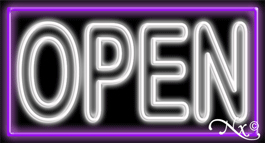 Double Stroke White Open With Purple Border Neon Sign