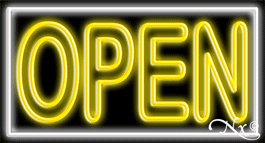 Double Stroke Yellow Open With White Border Neon Sign
