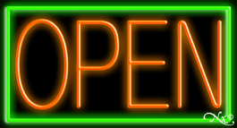 Green Border With Orange Open Neon Sign