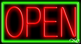 Green Border With Red Open LED Neon Sign