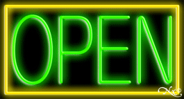 Yellow Border With Green Open Neon Sign
