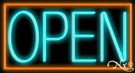 Orange Border With Aqua Open Neon Sign