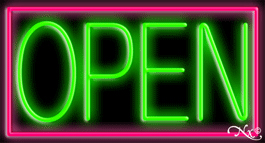 Pink Border With Green Open Neon Sign