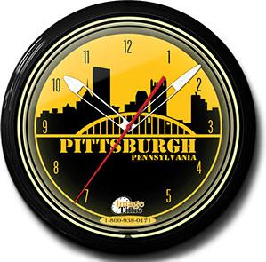 Pittsburgh Pride 20 Inch Neon Clock