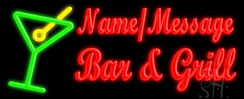 Custom Martini Glass Bar And Grill Neon Sign