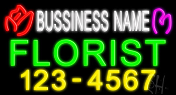 Custom Florist With Phone Number Neon Sign