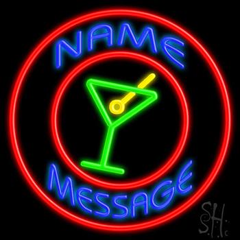 Custom Martini Glass Red Circle Neon Sign