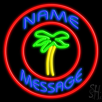 Custom Palm Tree With Circle Neon Sign