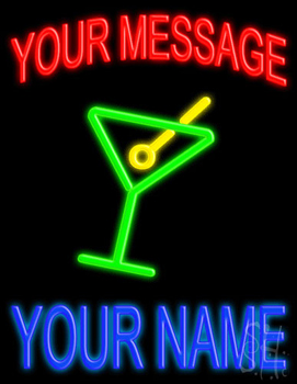 Custom Name With Martini Glass Neon Sign