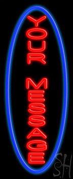 Custom Vertical Blue Oval Neon Sign