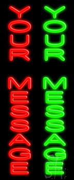 Custom Vertical Red And Green Neon Sign