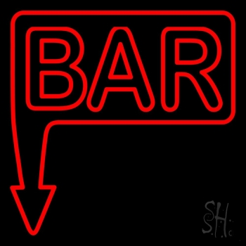 Bar With Arrow Red Neon Sign