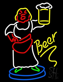Lady With Beer Mug Neon Sign