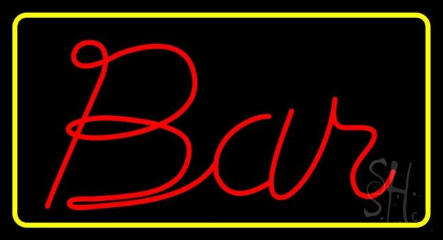 Red Bar With Yellow Border Neon Sign