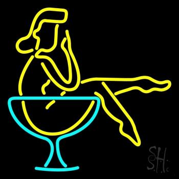 Martini Girl In Glass Neon Sign #2: n105 0572 martini girl in glass neon sign