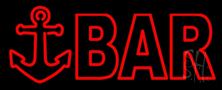 Double Stroke Red Bar With Anchor Neon Sign