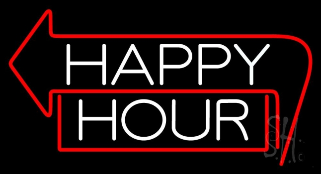 Happy Hour With Arrow Neon Sign | Happy Hour Neon Signs