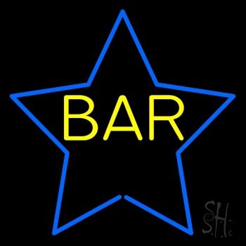 Yellow Bar Inside Blue Star Neon Sign