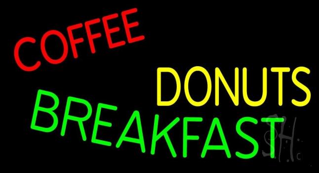 Coffee Donuts Breakfast Neon Sign