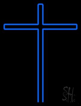Blue Christian Cross Neon Sign