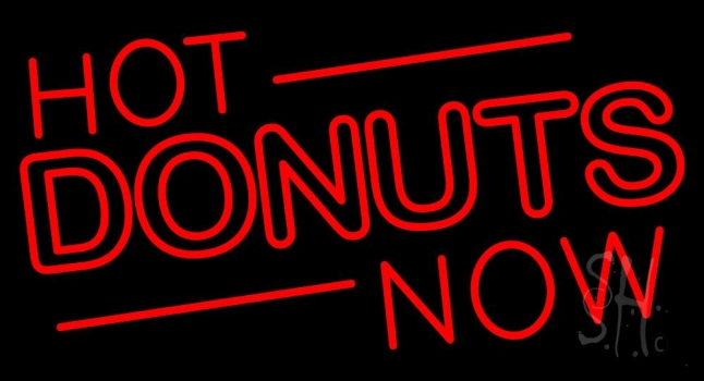 Hot Donuts Now Neon Sign