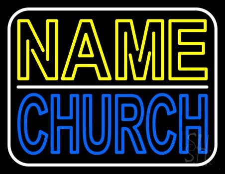 Custom Blue Double Stroke Church Neon Sign