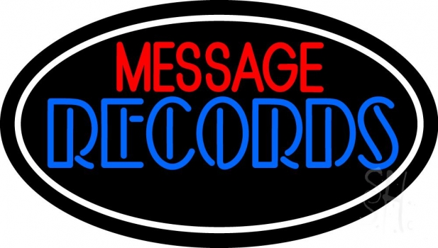 Custom Blue Double Stroke Records White Border Neon Sign