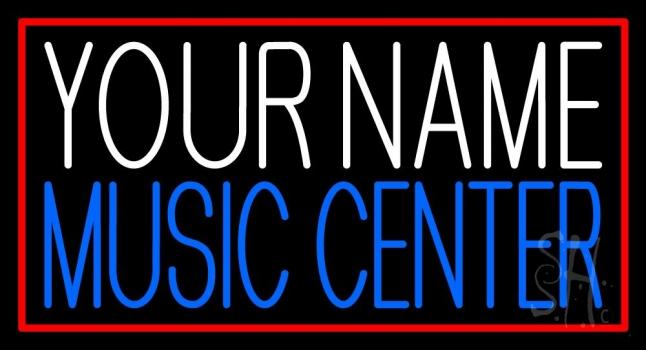 Custom Blue Music Center Red Border Neon Sign