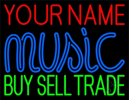 Custom Blue Music Green Buy Sell Trade Neon Sign