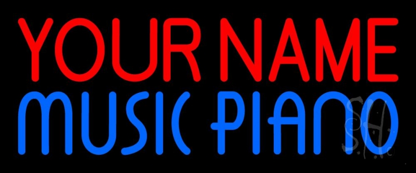 Custom Blue Music Piano Neon Sign