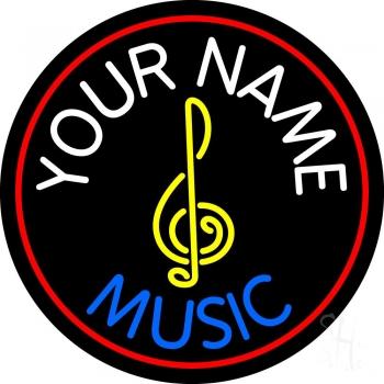 Custom Blue Music With Logo Neon Sign