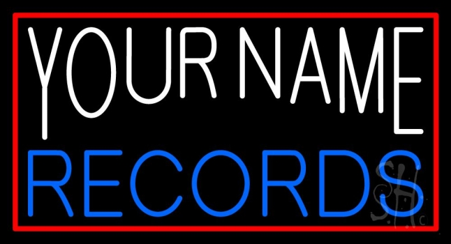 Custom Blue Records Block Red Border Neon Sign
