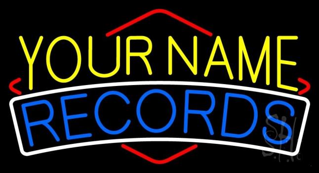 Custom Blue Records Neon Sign