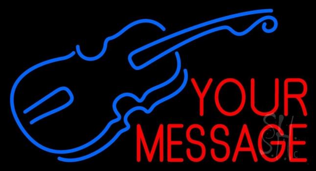 Custom Blue Violin Logo Neon Sign