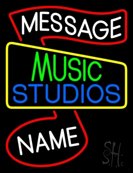 Custom Green Music Blue Studio Red Note Neon Sign