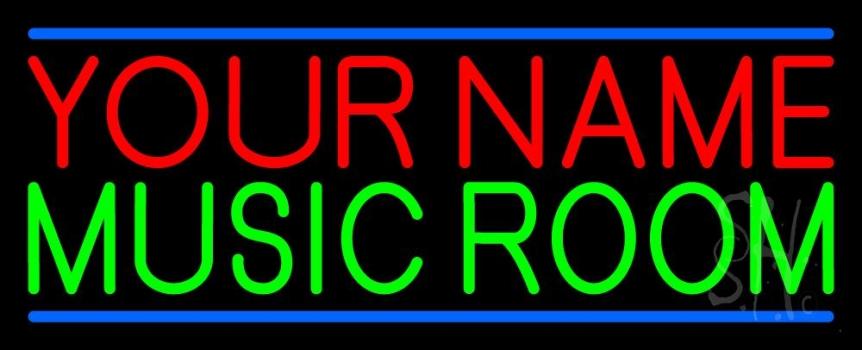 Custom Green Music Room Blue Line Neon Sign