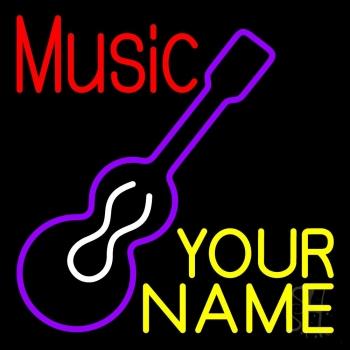 Custom Music Red Guitar Purple Neon Sign