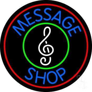 Custom Music Shop Red Border Neon Sign