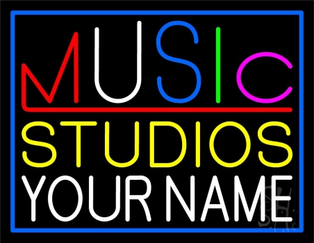 Custom Music Studio Blue Border Neon Sign