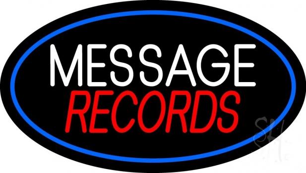 Custom Records Block Blue Border 4 Neon Sign