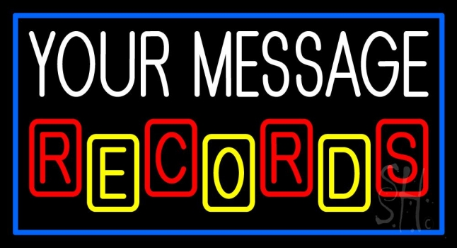 Custom Records Block Border Blue 2 Neon Sign