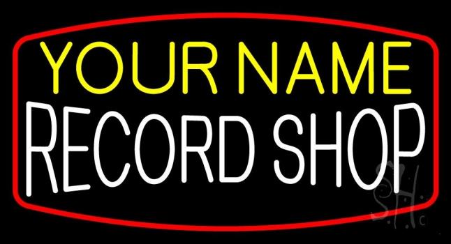 Custom Record Shop White Neon Sign
