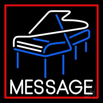 Custom Red Border Piano Neon Sign