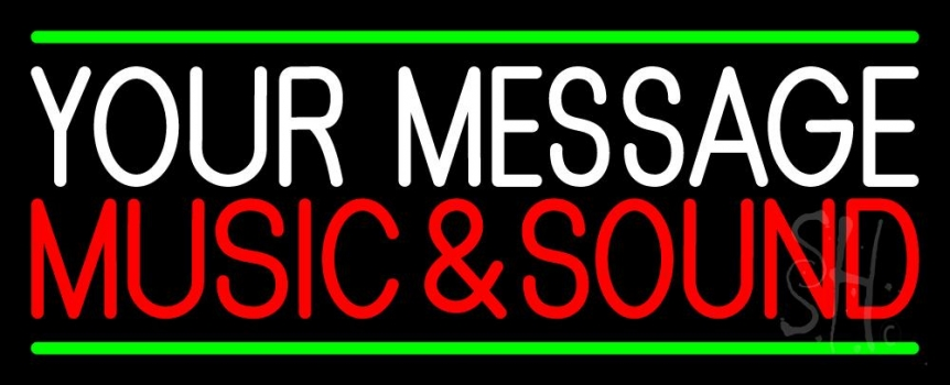 Custom Red Music And Sound Green Line Neon Sign
