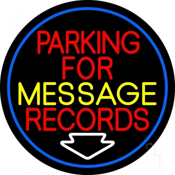 Custom Red Parking For Records White Border Neon Sign