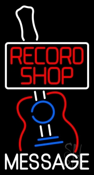 Custom Red Record Shop With Logo Neon Sign